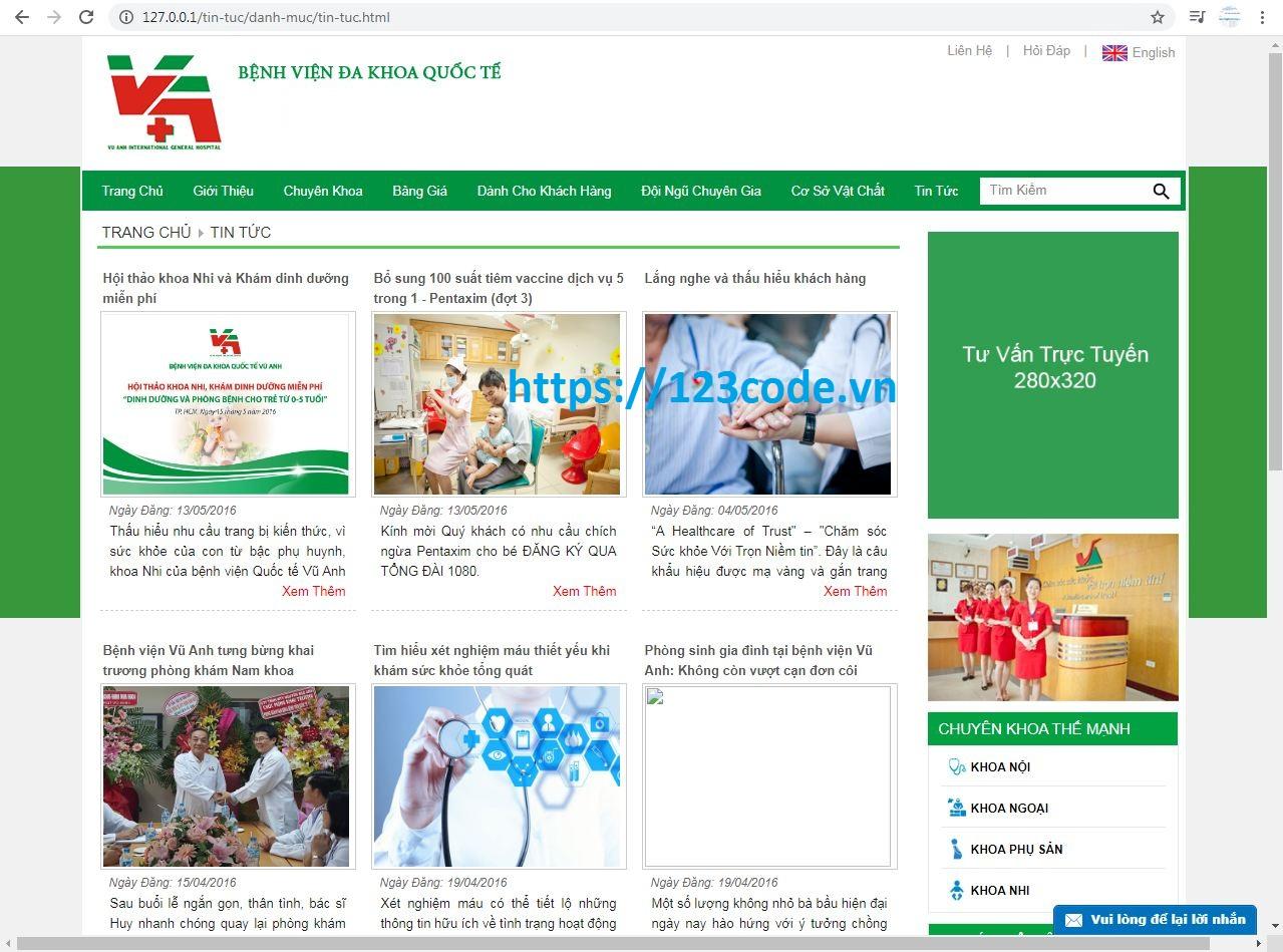 Share Code website giới thiệu thông tin bênh viện php sql