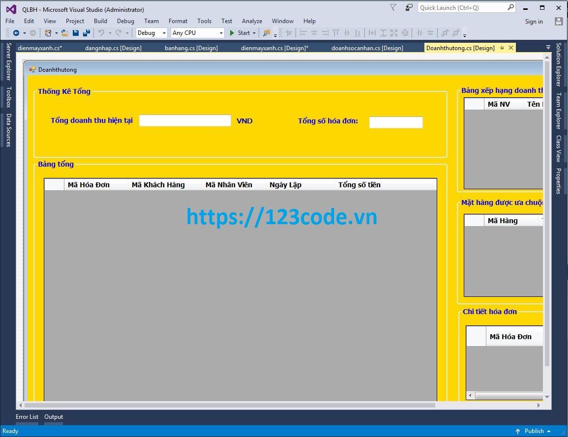 Quản lý bán hàng code c# kết nối sql có báo cáo