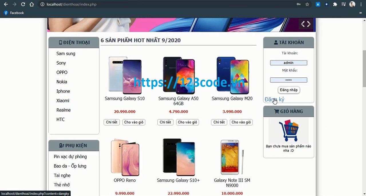 Source Code đồ án - Xây dựng website bán điện thoại