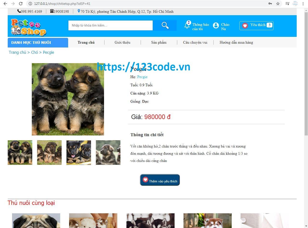 share miễn phí code website giới thiệu thú cứng php thuần