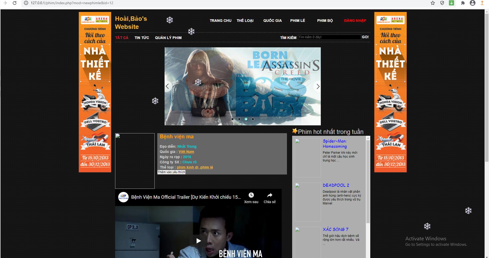 Chia sẻ miễn phí source code website xem phim online php đơn giản