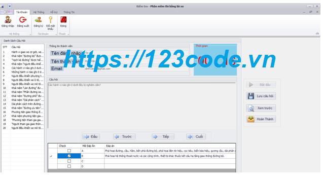 Đề tài phần mềm luyện thi trắc nghiệm code c# full chức năng có báo cáo