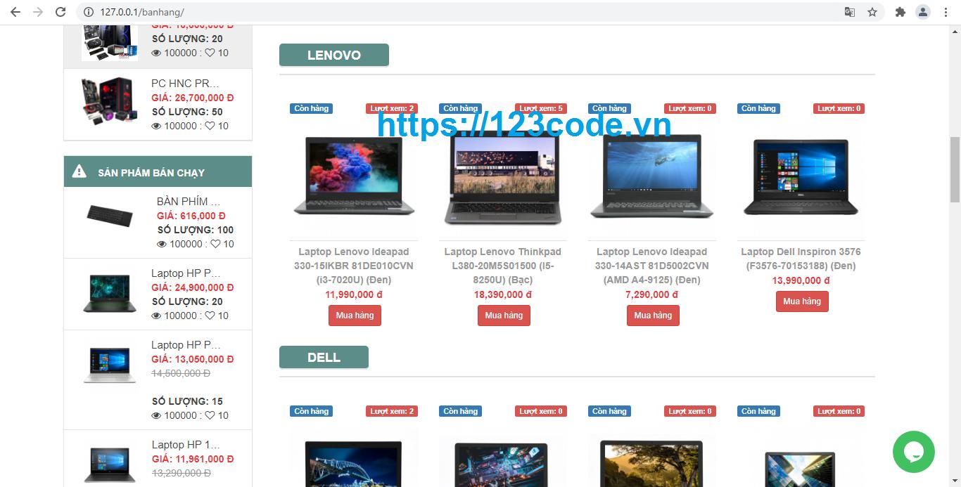 Share code website bán hàng thương mại điện tử php thuần có báo cáo